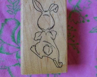 Backside Bunny Rubber Stamp Hopping Down the Bunny Trail