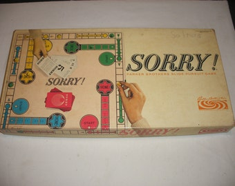 Vintage Sorry Board Game by Parker Brothers 1964 100% Complete