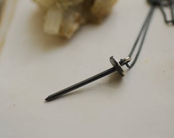 Nail Necklace Sterling Silver, Mens Unisex Pendant, Black Spike Jewelry