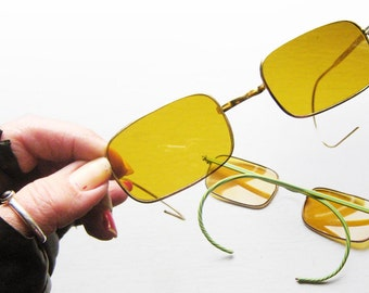 Grunge 1950's Sunglasses Cable Wire Temples Yellow Lens Goth Retro Gothic Cool Salvage Back Thennish Vintage