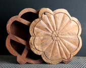 Vintage Primitive Flower Shaped Hand Made Box, Rustic Beefy Wooden Storage