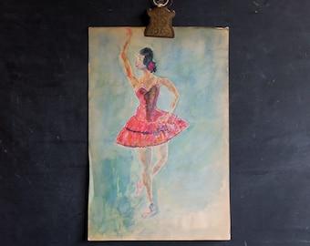 Vintage Art School Watercolor Original Painting Ballet Ballerina