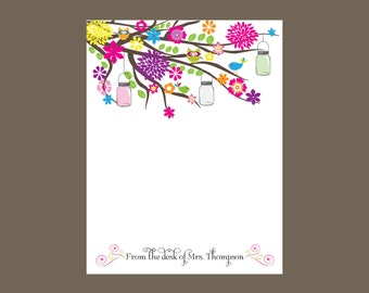 Garden party notepad personalized notepad, teacher gift, stocking stuffer