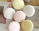 """Fabric Buttons, Big Large Pastel Yellow Pink White Polka Dots Covered Fabric Buttons, Flat Backs, CHOOSE COLOR 1.5"""" 5's"""