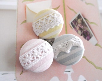 """Handmade Rustic Country Pastel Blue Yellow PInk Stripes White Floral Lace Fabric Covered Buttons, Nursery Wedding Fridge Magnets, 1.25"""" 3's"""