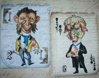 STEAMPUNK ART - Anthropomorphic -  8 notecards- Unique Gift -  Great Hostess or Birthday Gift - AUA 56565