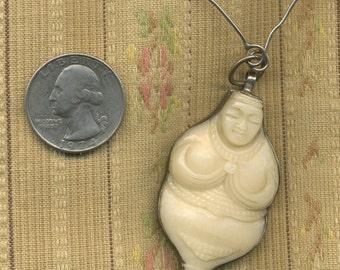 Vintage Female Sterling Fertility Goddess Necklace