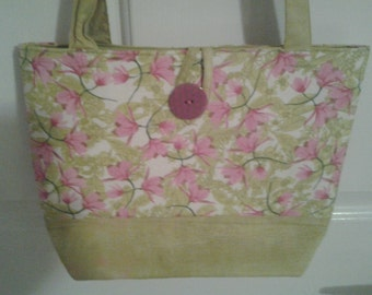 Lime and Fuchsia Floral Bag Purse With Matching Key Fob