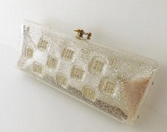 Vintage lucite confetti clutch lucite confetti handbag clear lucite handbag lucite purse rhinestone handbag rhinestone clutch