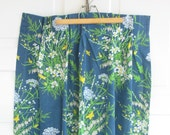 Vintage Curtains Drapes Flowers Pinch Pleat Girl Spring Navy Blue Yellow Green Butterflies