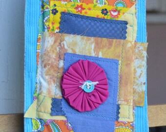 Abstract Blue Orange Yellow Doorknob Hanging Art Quilt - Pink Yo Yo