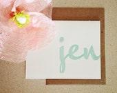 Personalized letterpress stationery: jen