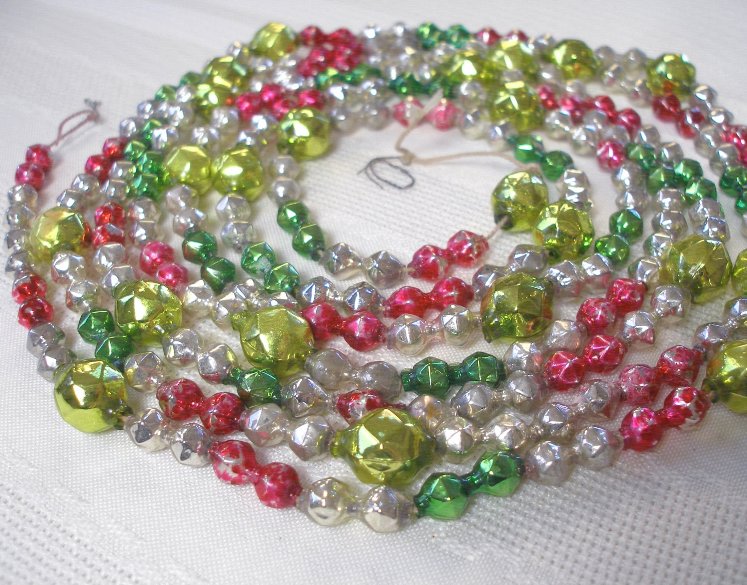 Vintage mercury glass garland with fancy faceted bumpy beads