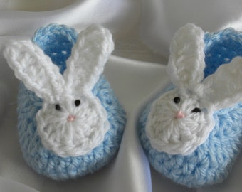 Crocheted Baby Booties, Crocheted Baby Shoes, Baby Bunny Shoes, Newborn Baby Boy Booties, Baby Boy Bunny Booties, Photo Prop Bunny Booties