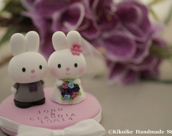 rabbit and bunny wedding cake topper---k923