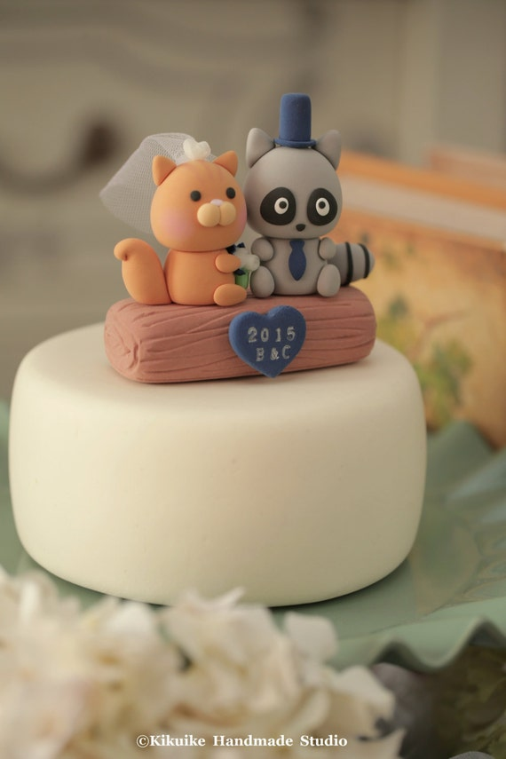 squirrel and fox Wedding Cake Topperk709 by kikuike on Etsy