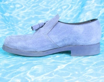 90s Hush Puppies in Lavender Suede / Loafers with Tassels Pale Pastel Purple Soft Grunge Boat Shoes US 5.5 Uk 3 Eu 36