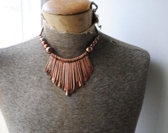 Egyptian revival vintage 50s copper finished  fringe bib - collar necklace.