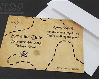 Avast! Pirate save the date cards