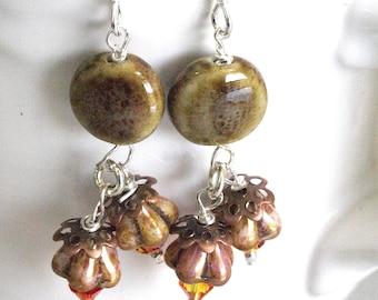 Orange Floral Earrings, Brown Flower Dangles, Brown Jewelry Tan Floral Earrings, Brown Floral Earrings, Earthy Gift For Friend, Sister, Aunt