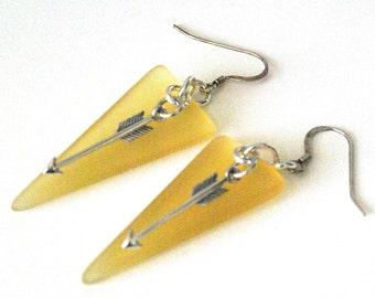 Modern Yellow Triangle Earrings, Trending Arrow Earrings, Yellow Geometric Earrings, Triangle Jewelry, Arrow Jewelry, Long Modern Earrings