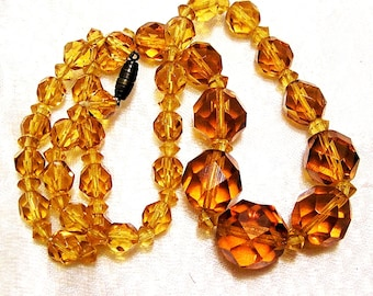 Vintage Topaz Amber Gold Cut Glass Round Graduated Bead Necklace 19 Inches (J20)