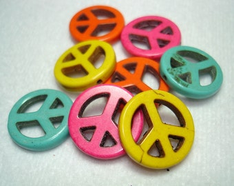 Peace Sign Dyed Natural Howlite Mixed Color Beads (Qty 8) - B2756