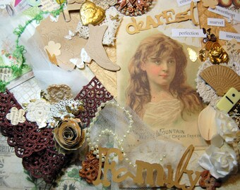 My Dearest Family Inspiration Kit For Layouts, Journals, Card Making, Altered Mixed Media Art, Collages