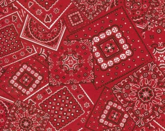 Bunk House Bandana Real fabric   Red Navy Blue  Moda   Cotton Quilting fabric by the Yard