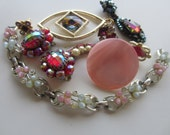 Vintage Shabby Chic lot of jewelry,embellishments, findings for repurpose, missing stones/ closures, lot of 10 pink (feb 5 )