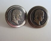 Vintage Buttons - 2 Collector molded metal, pressed and molded button of Napoleon. Measures 3/4 of an inch in diameter figural, (lot mar 360