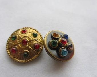 Vintage Button- 2 flower designs, multi color rhinestones, gold metal (dec 328)
