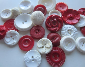 Vintage Buttons - Cottage chic mix of red and white lot of 26, old and sweet( feb 88)
