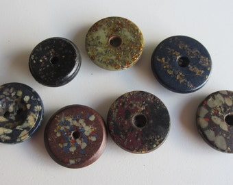 Vintage Buttons - Collector lot of 7 1950' s mid century modern, 4 whistle buttons, small, composite, (mar 352)