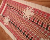 RED and WHITE RUNNER, 27 X 10 quilted table runner