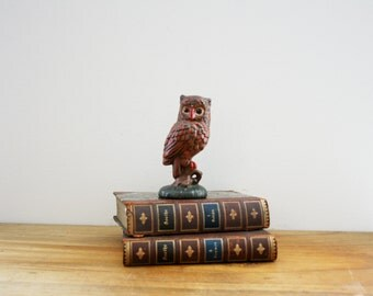 vintage 70s Painted Brown Owl on Branch Shelf Sitter Figurine Home Decor