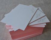 50 Calligraphy Letterpress Flat Notecards