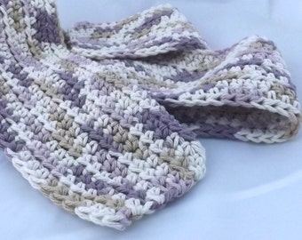 Kid Size English Lavender light purple cream and mocha snuggly 100 percent cotton crochet scarf