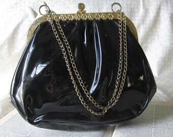 1960's Vintage Black Shiny Vinyl Purse with Gold  Snap Closure and Chain Handle