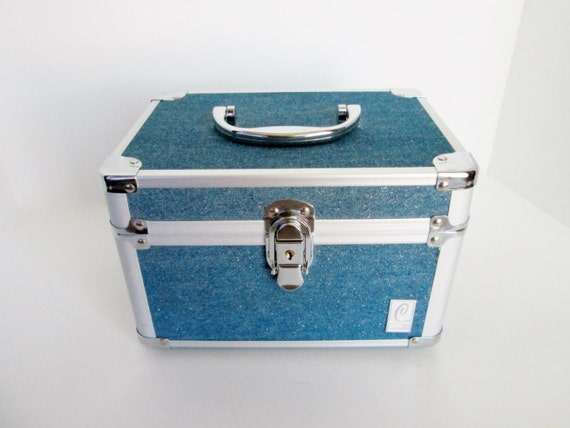 Caboodles Train Case Blue Jeans Color W Sparkles Holiday