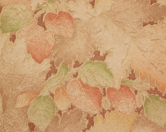 1920s Antique Vintage Wallpaper Autumn Leaves of Orange Brown and Green by the Yard--Made in England