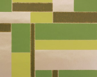 1960s Vintage Wallpaper Green and Gold Tile Geometric by the Yard
