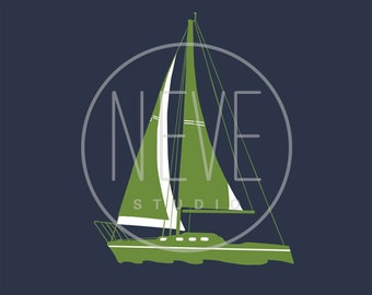 Sail boat art, nautical nursery decor 13 x 19 print - available in different colors and sizes