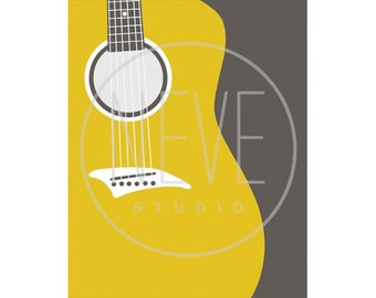 Guitar ART, modern music room decor, 5 x 7 Art Print - available in different sizes and colors