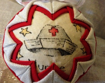 Nurse Fabric Quilted ornament SALE
