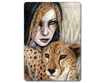 Stealth Limited Edition ACEO Print Fantasy Cheetah Art Artist Trading Cards ATC Fantasy Art Wild cat Shaman animal Portrait