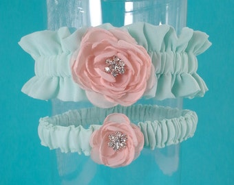 Wedding Garter, Mint and Blush Chiffon Wedding Garter, set L277 - Bridal garter Accessories