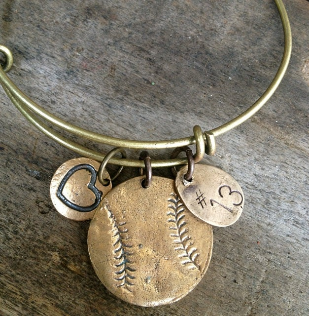 Baseball Charm Bracelet: Bangle Baseball / Softball Bracelet Number Tag And Heart Charm