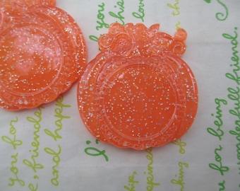 Pumpkin setting frame 2pcs Glitter orange 47mm x 44mm  (Fits round 25mm Cameo) NEW item