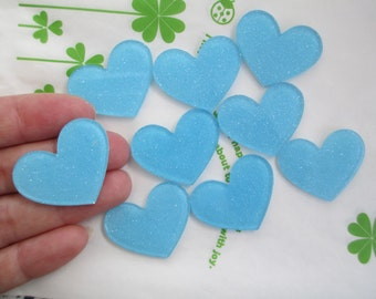 Glitter heart acrylic cabochons 4pcs 32mm x 26mm Blue new item